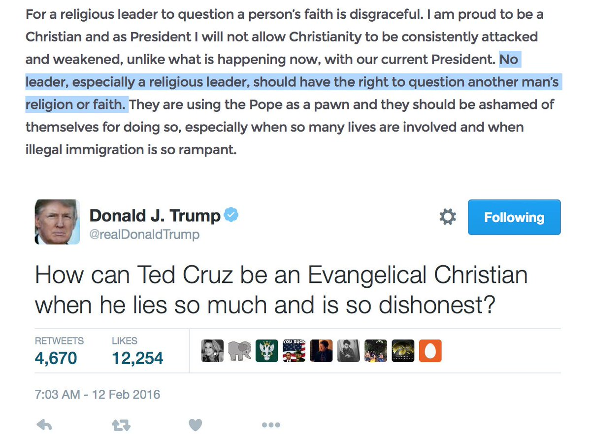 Here's Donald Trump today, on the pope. And also: Donald Trump last week, on Ted Cruz. https://t.co/GlWqkWucR6