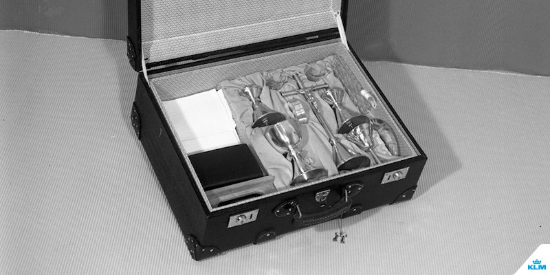 Even priests got their own KLM suitcase with a portable altar inside.