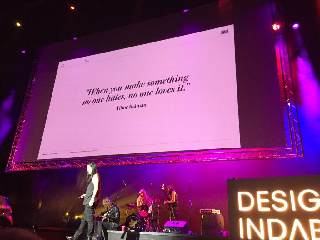 """When you make something no one hates, no one loves it"" - advice from @SNASKsthlm #DesignIndaba https://t.co/yUGefXE8nb"