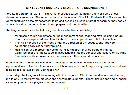 New statement from #OHL Commissioner David Branch - Immediate Sanctions for Flint Firebirds: https://t.co/65zy3qtxjQ https://t.co/whfIqOocja
