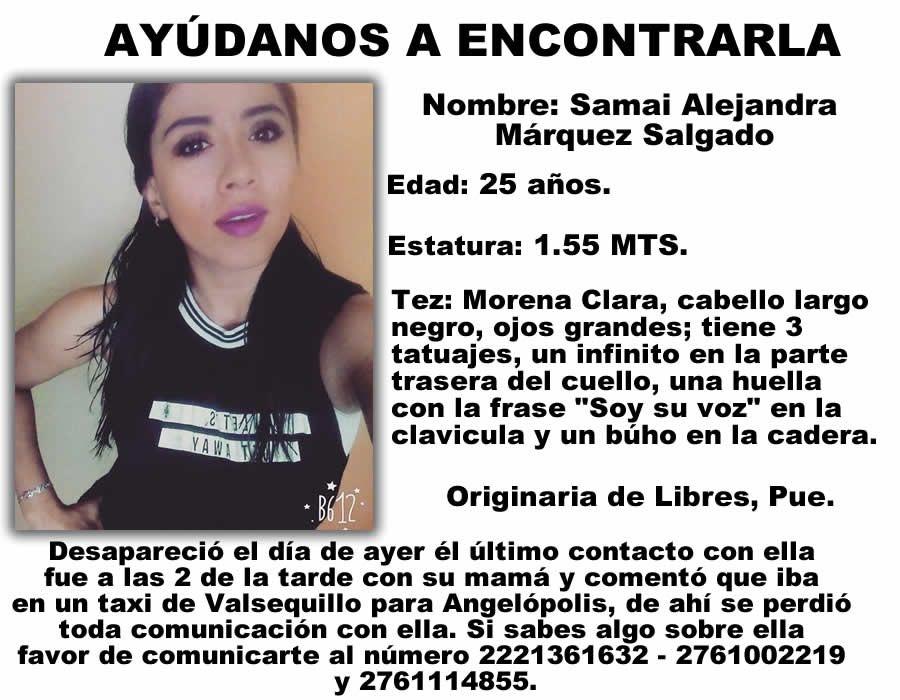 Ayuda para localizar a #SamaiAlejandra, originaria de #Libres #Puebla @CapitalPue https://t.co/q7nQ7HUBS1