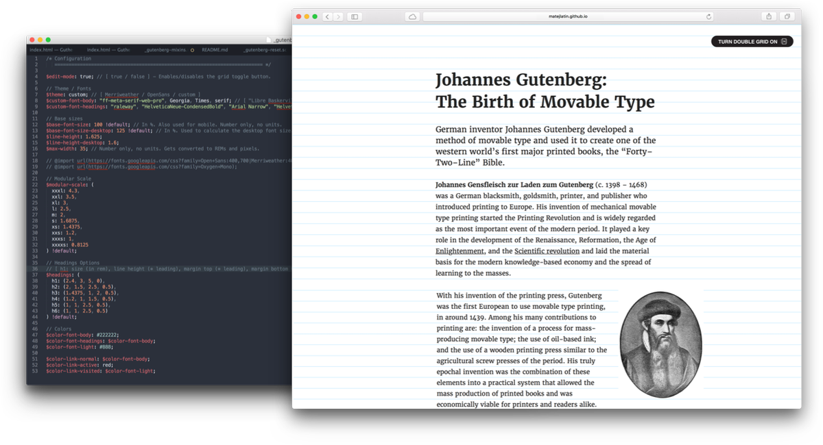 Gutenberg — A Meaningful Web Typography Starter Kit https://t.co/1FIkIQ9O7g https://t.co/nTOT8THt9w