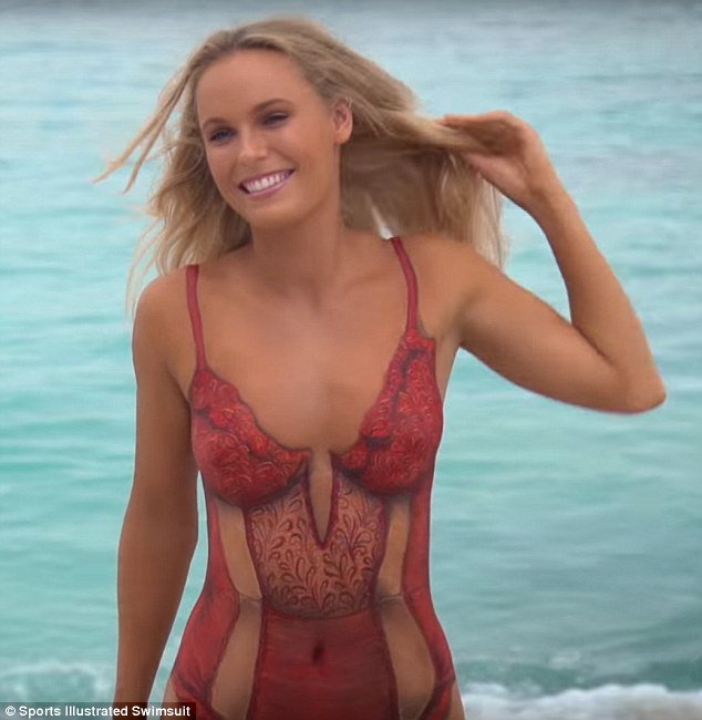 Camille Kostek Publishes Pictures Of Her Si Swimsuit Shoot: Caroline Wozniacki's Naked Body Was Painted For 15 Hours