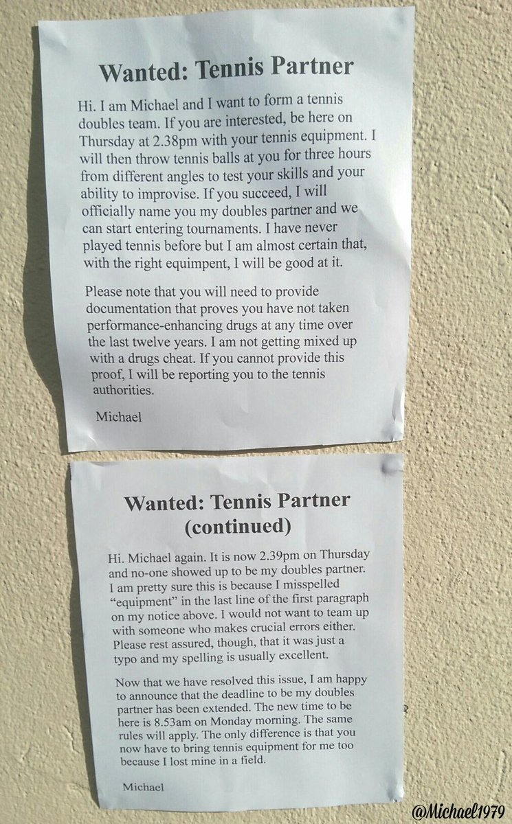New poster I stuck up at my local tennis club today. No drugs cheats, please. Serious applicants only. https://t.co/NDN3Mn4u3z