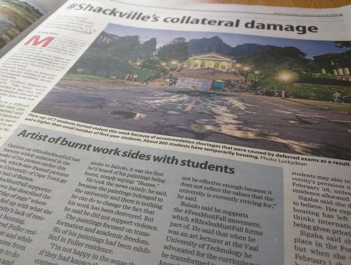 Black artist who's art went up in smoke in Shackville protest at UCT speaks out in support of students. In the M&G. https://t.co/15uIvLUFLy