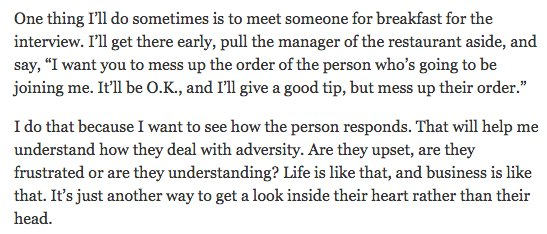 Wow. Job interview technique from Charles Schwab CEO Walt Bettinger, from NYT's Corner Office. (HT @ReformedBroker) https://t.co/ItXbwKWMJL