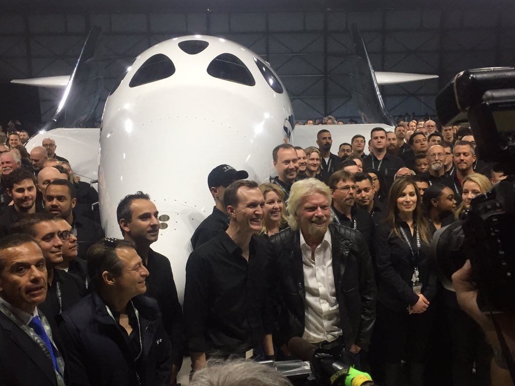 With the help of Stephen Hawking (and his mom!), @richardbranson christens the @virgingalactic Unity! https://t.co/JN8x6JGJIa