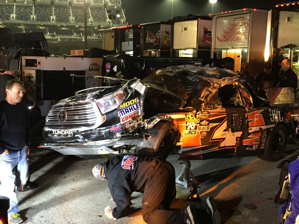 #NASCAR ... What is left of Christopher Bell's truck. @NASCARonNBC https://t.co/0K1jJDmJjt