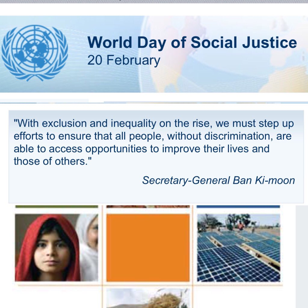Today is the World Day of Social Justice. We call for eliminating all forms of inequality and discrimination.#SDGs https://t.co/krjFXY5iML