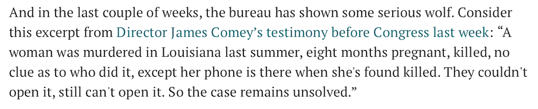 Because before the smartphone era FBI could never solve any murder case.  Despicable civil servant. https://t.co/KxeDeNYnAv
