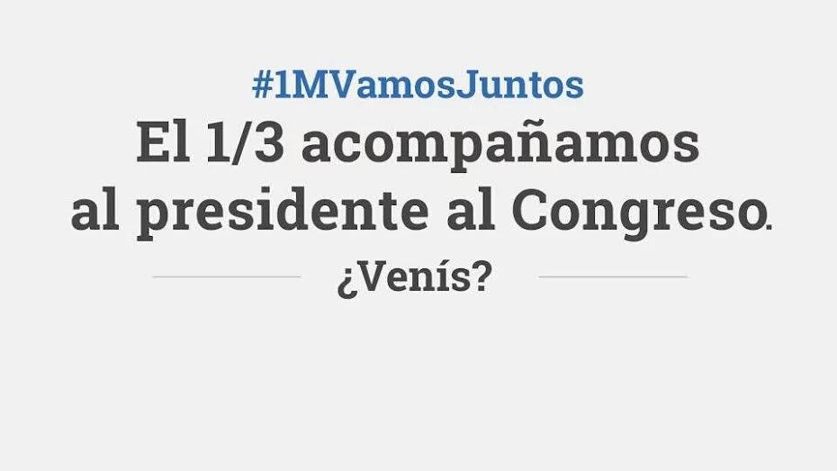 El #1MVamosJuntos. Acompañemos a @mauriciomacri a la apertura de las Sesiones Ordinarias del Congreso de la Nación. https://t.co/yqQtr4qHv7