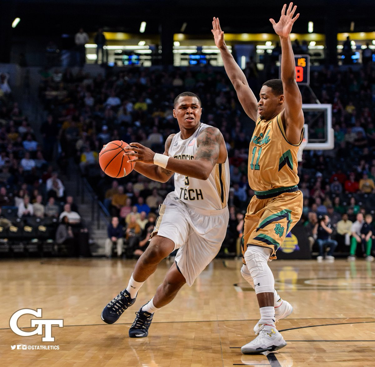 JACKETS WIN!!! Marcus Georges-Hunt DELIVERS for 63-62 win over 19th-ranked Notre Dame!!! #TogetherWeSwarm https://t.co/tBgH06K8qb