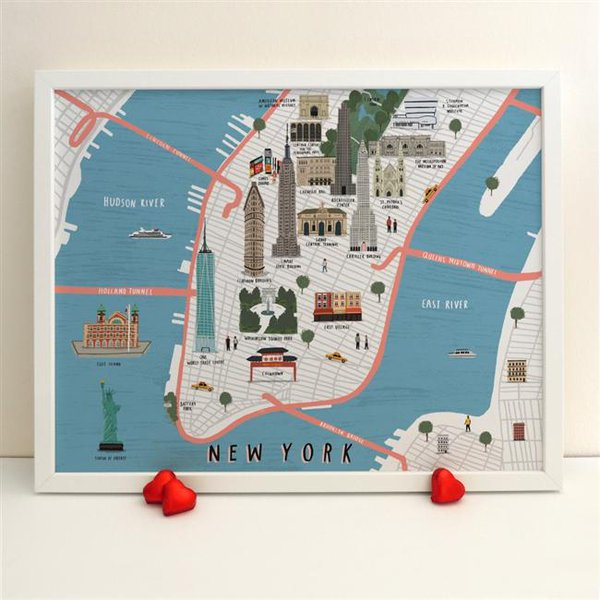 An Illustrated Map Of New York City Featuring Famous Landmarks U0026 Key Tourist Destinations ...