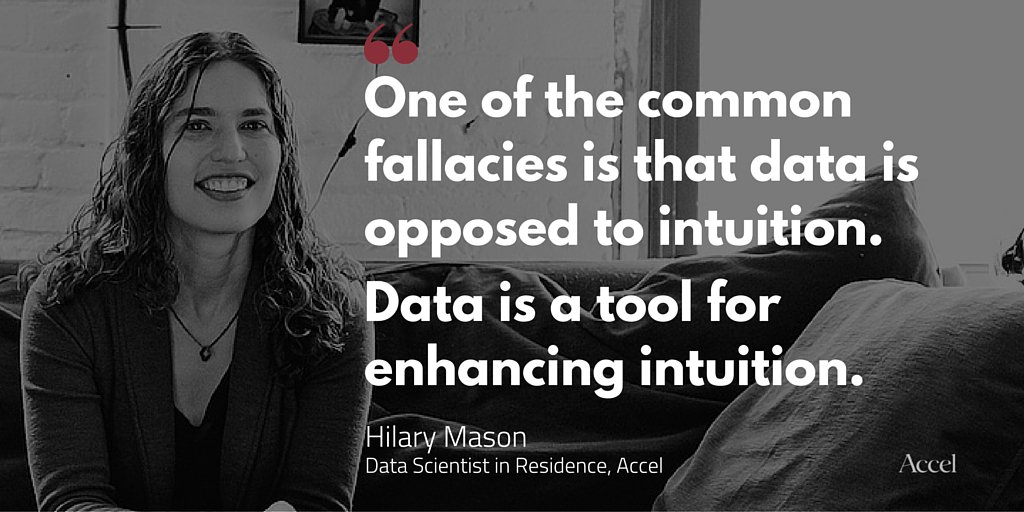 """One of the common fallacies is that data is opposed to intuition. Data is a tool for enhancing intuition."" @hmason https://t.co/Rl5lJGsezZ"