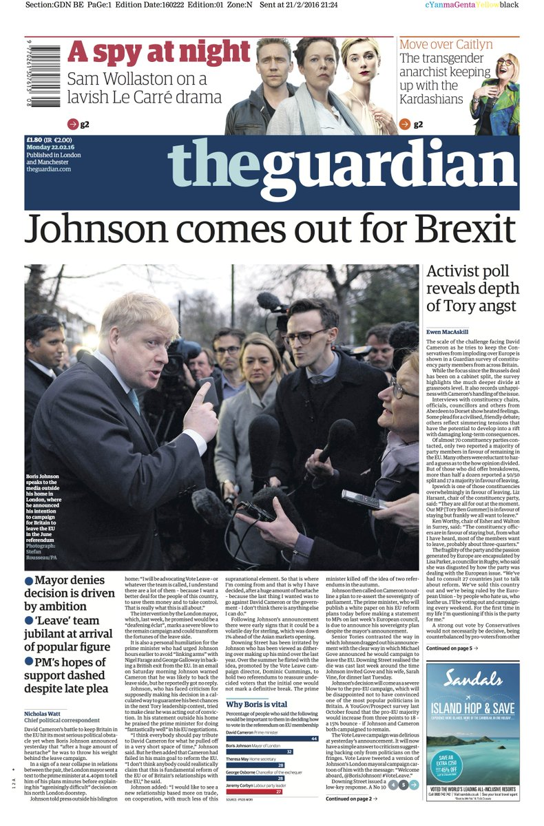 guardian front page monday 22 february 2016 johnson