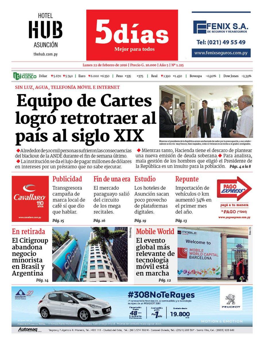 """Qué tapa la del diario """"5 días"""" de este Lunes. Ya recorre las redes. https://t.co/xDc6IuwXnI"""