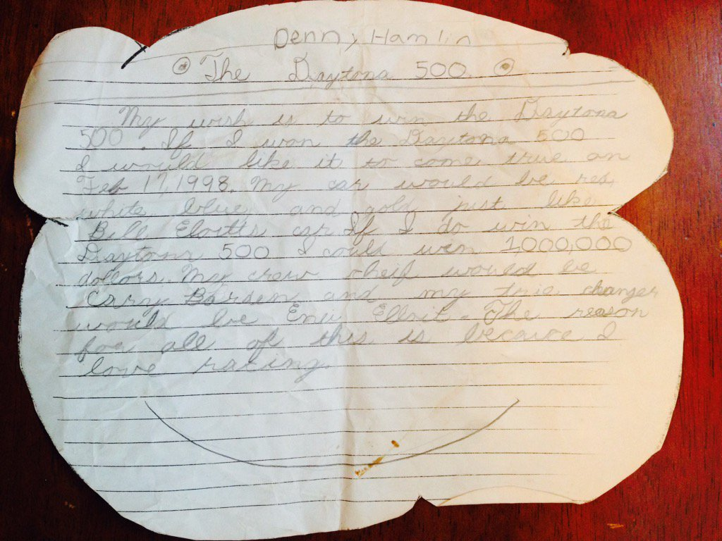This was written by @dennyhamlin in elementary school! https://t.co/TMuLboq1SZ