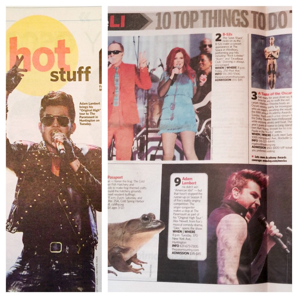 @adamlambert You were in 2 sections of @Newsday today. Long Island is pumped for #TheOriginalHigh @TheParamountNY https://t.co/2iQOUog923