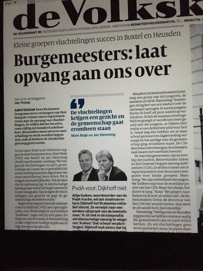 Vluchtelingenopvang #Boxtel op voorpagina #Volkskrant! https://t.co/mx8LdSfAGY