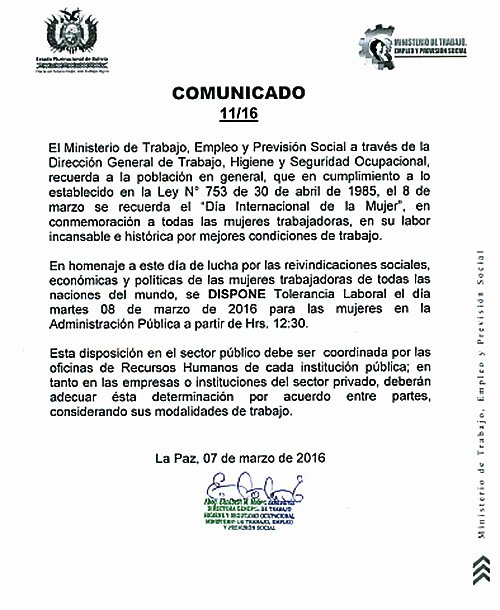 Bolivia ministerio de trabajo dispone tolerancia laboral for Ministerio del inter