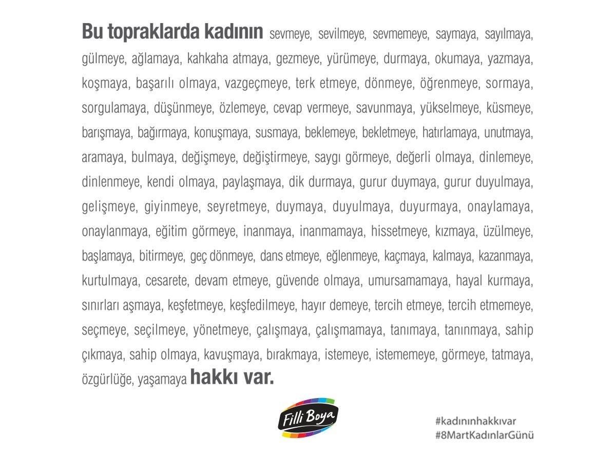 Bu topraklarda kadının hakkı var. #kadınınhakkıvar #8MartKadınlarGünü https://t.co/SBJ4nljbfI