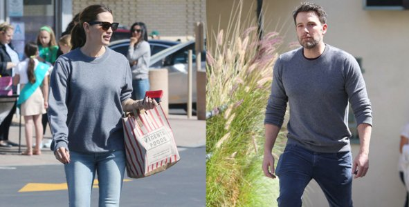 Ben Affleck and Jennifer Garner REALLY seem to like sharing this sweater: