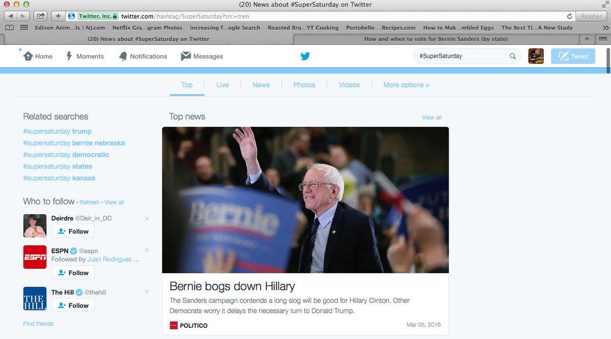 when we search #SuperSaturday , it says @BernieSanders bogs down HRC, NOT HE WINS Kansas & NEBRASKA #MediaBlackout https://t.co/CqmnuPqh2s