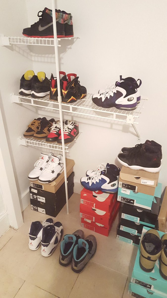 This is just the small closet lol... S/o to my fellow sneakerheads #Salute @jordan https://t.co/5X6rcPlsXp