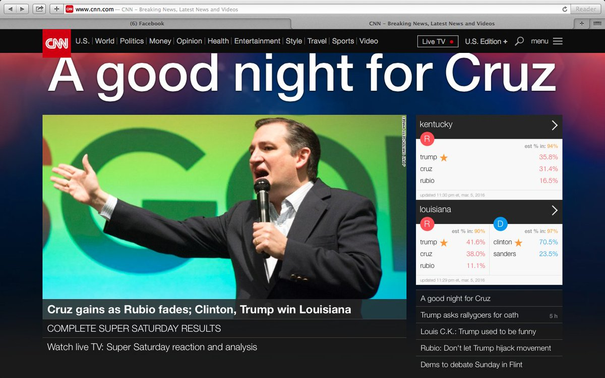Don't believe that @BernieSanders  gets blacked out by Mainstream media??The Webpage at @cnn right now .#feelthebern https://t.co/1XniNUt2Zs