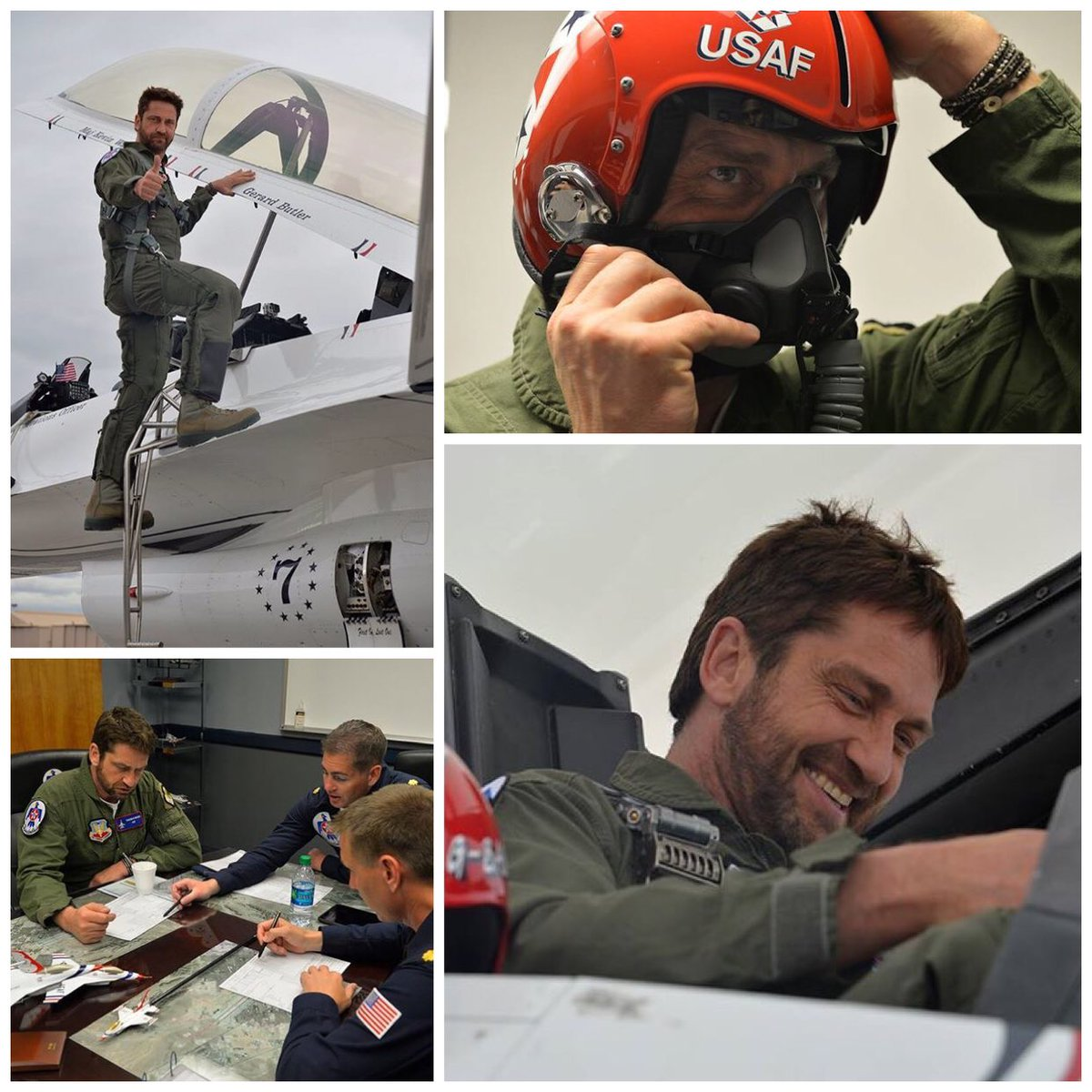 We had the pleasure of flying Gerard Butler today. He pulled 9.3G's & experienced the #afthunderbirds air show demo. https://t.co/FdJLbWcgyq