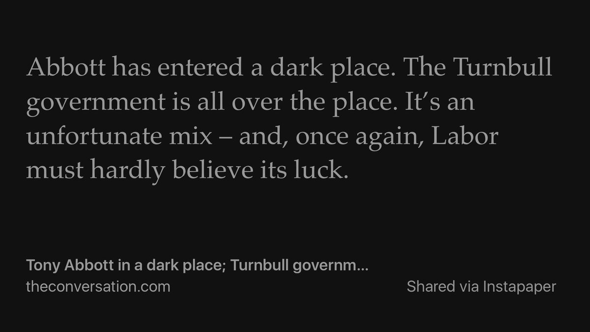 """Tony Abbott in a dark place; Turnbull government all over the place"" https://t.co/WTJtUT2nsn #auspol https://t.co/kEeyJI6e4w"