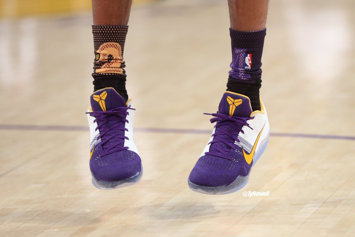 The Mamba's shoe/sock combo for today's matchup with the Dubs https://t.co/jwhH09N795