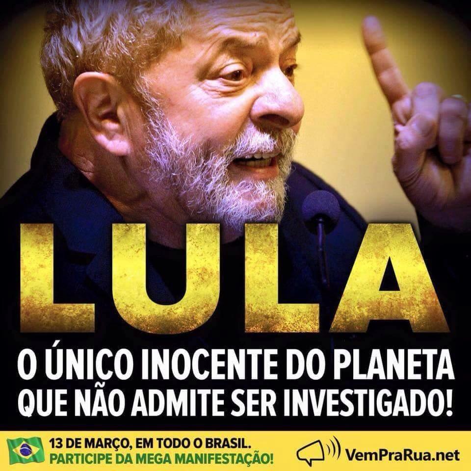 Que contradição do Lula, julga-se inocente e não aceita ser investigado... https://t.co/v0bbf6X0Wv
