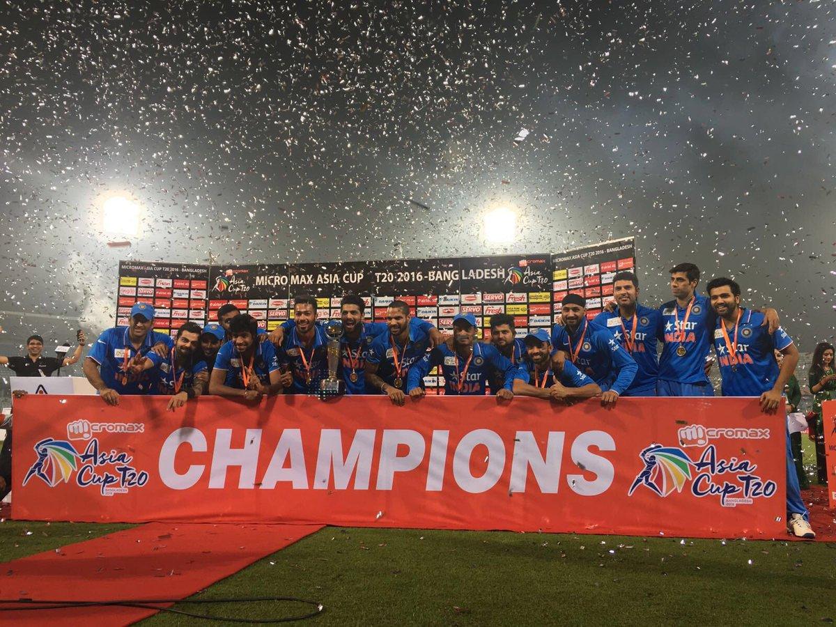 CHAMPIONS जय हिन्द #AsiaCupT20Final https://t.co/RrUMXU5VuO