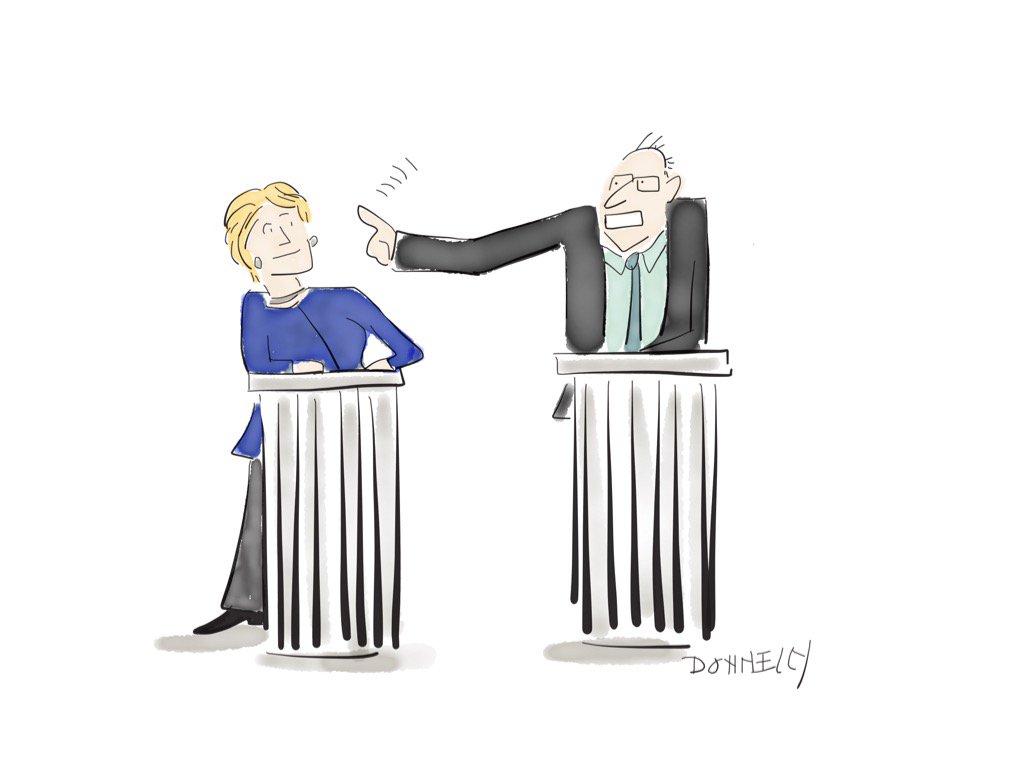 Hillary and Bernie invading her space. #DemDebate #Bernie #Hillary https://t.co/tJbC6nyNW1