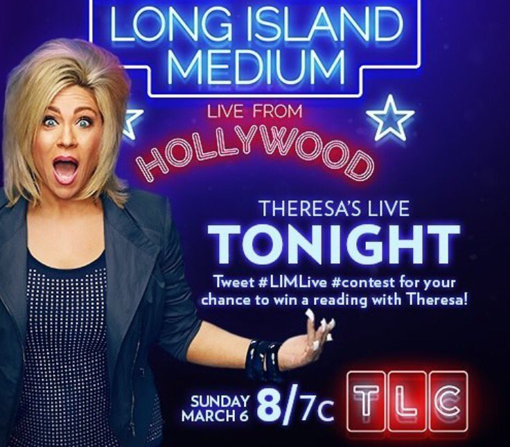 Tonight at 11pm EST @TLC I'm on the amazing @Theresacaputo Long Island Medium TV show!! #LongIslandMedium #LIMLive https://t.co/7qF4QdKohg