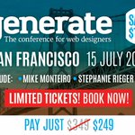 Early bird tickets for #generateconf San Francisco are running out. Hurry & save $100 now: https://t.co/piWlmlyY2x https://t.co/Qndts7DZnM