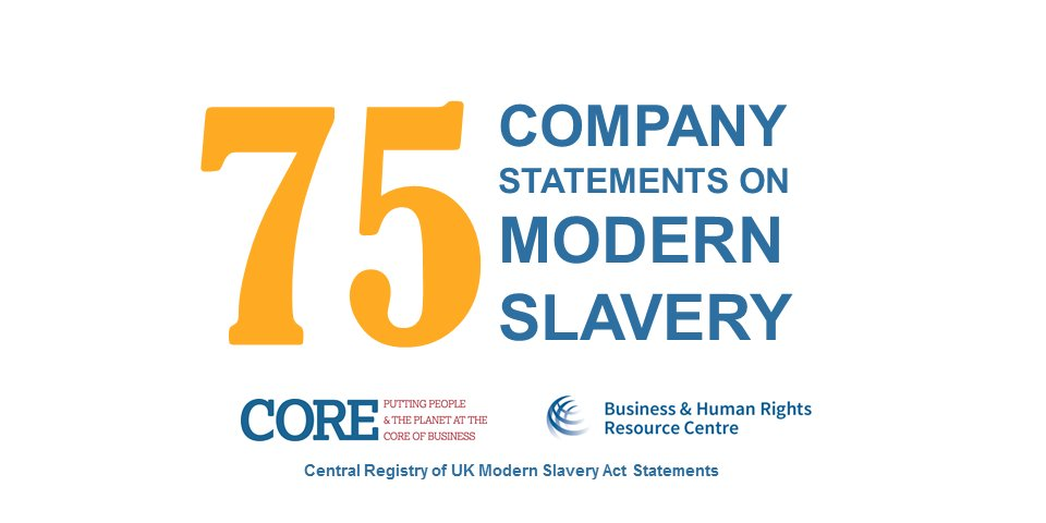 Our free & public registry of statements on UK #ModernSlavery Act has 75 company statements: https://t.co/10jSlHHX6x https://t.co/bMnl9JxJtE