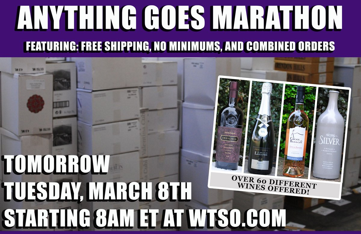 TOMORROW: Free Shipping, No Minimums, Marathon! https://t.co/7inJdfqUav #wine #freeshipping #winedeals #sonomachat https://t.co/dPrVCeVYJv