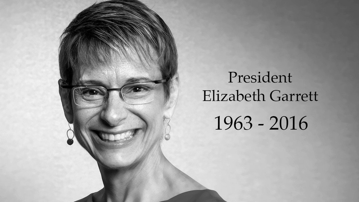 Today we mourn the loss of our president, colleague and friend, Elizabeth Garrett https://t.co/3O8MteuCWN https://t.co/MXqkeSBUce