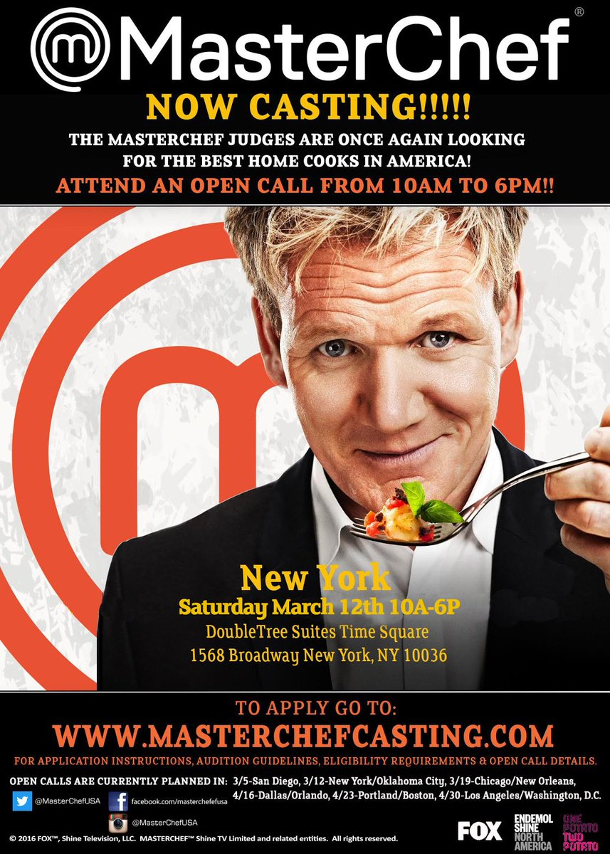 Hey @Zagat guess what?! MasterChef is casting season 8 in NYC March 12th! Register TODAY!!! https://t.co/1Dr4VDz7wv https://t.co/L9PAilkSKh