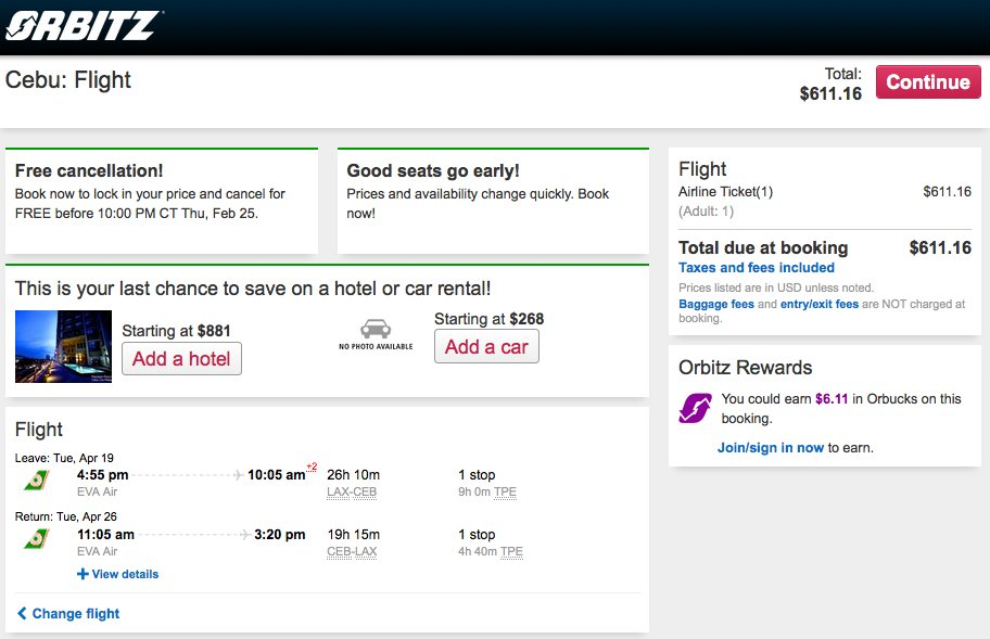 RT @airfarewatchdog: Los Angeles LAX to Cebu CEB $612 round-trip for spring travel