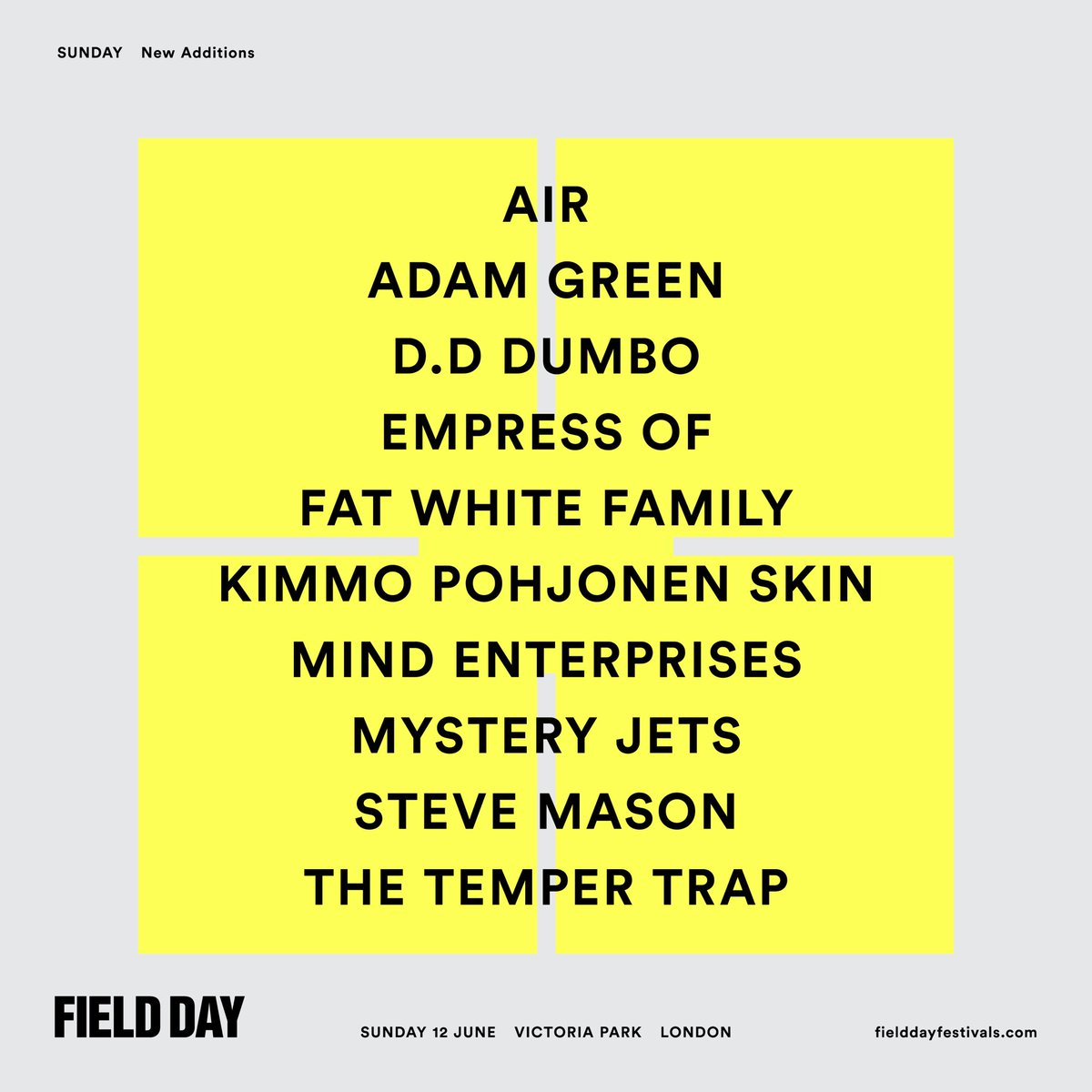 More additions to Field Day Sunday!  RT to win 2x VIP weekend tickets!  https://t.co/pHX0wnaJl8   #FieldDayis10 https://t.co/tKE7t7ydJj