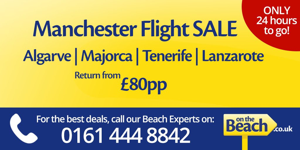 There's only 24 hours left to book @OntheBeachUK flight sale from Manchester Airport!