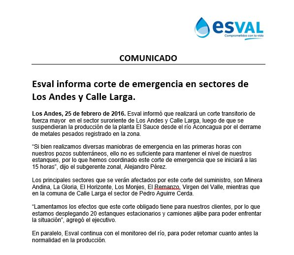 Información sobre corte transitorio del suministro en sector suroriente de la comuna de Los Andes y Calle Larga https://t.co/IuclyuJQt5