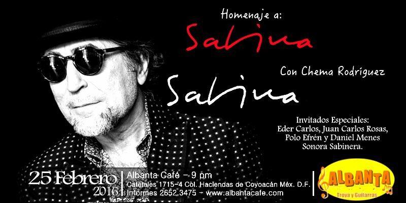 HOY Homenaje a Joaquín Sabina en Albanta! Reserva al 26523475 @tiempolibre @Coapa_ @a_dondeir @Trova_adiccion https://t.co/zL6DocLx8D