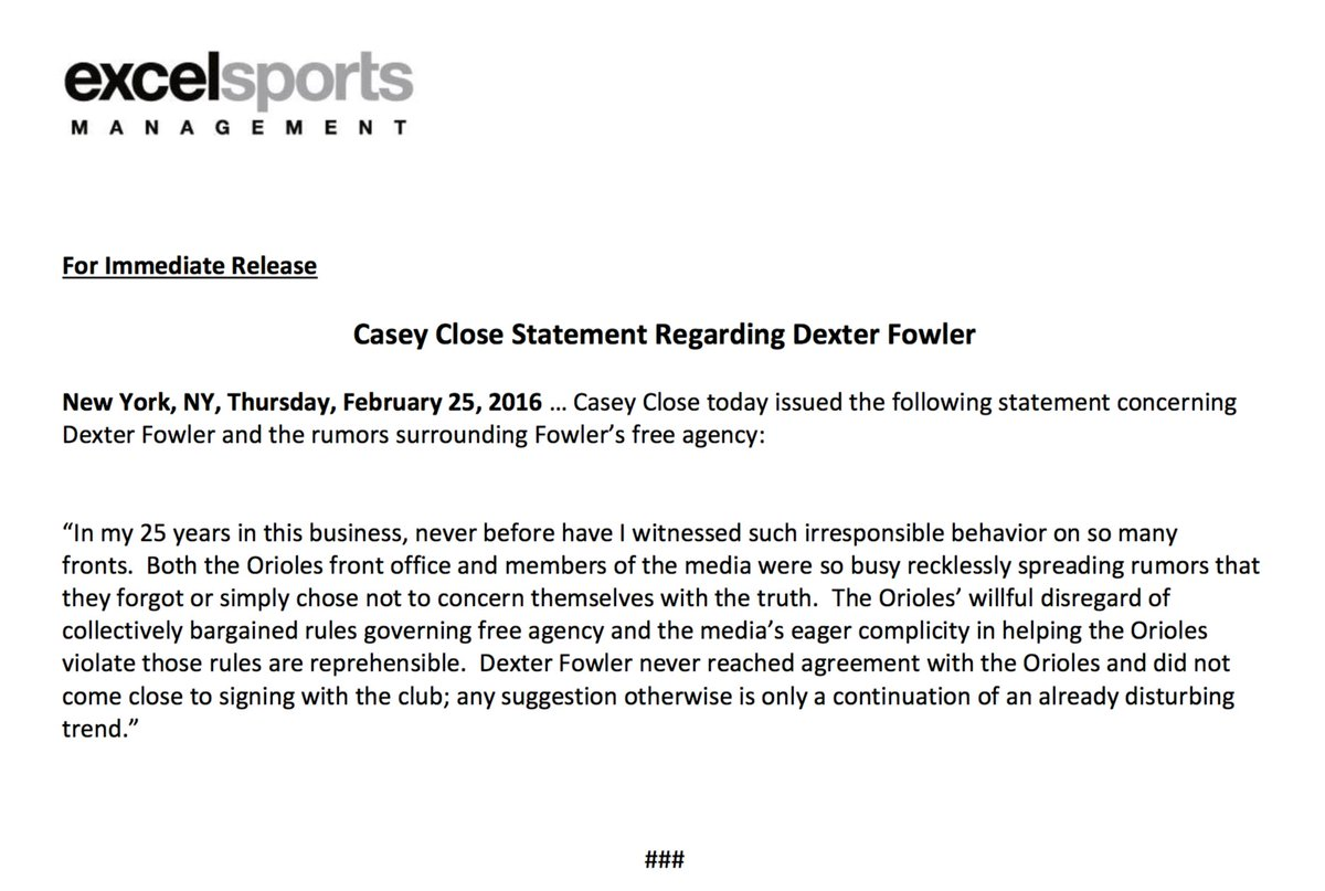 Casey Close Statement Regarding Dexter Fowler: https://t.co/z4wQ8q312U