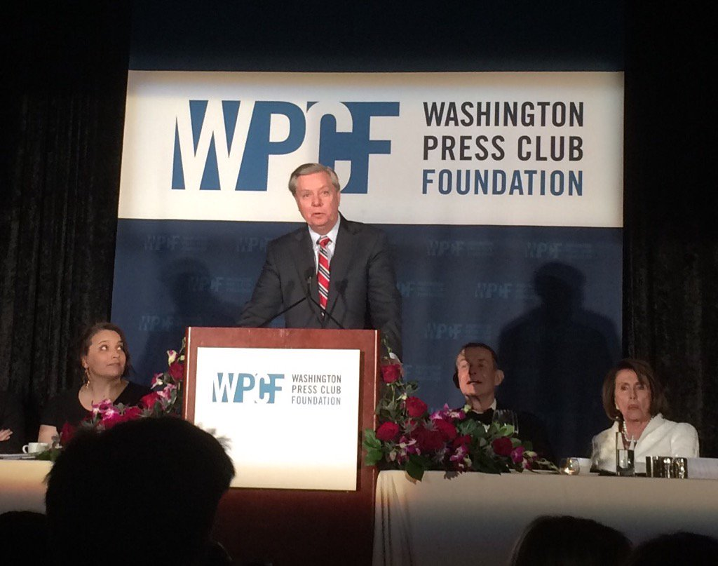 """My party has gone batshit crazy."" -- Lindsey Graham #wpcfdinner https://t.co/X8Qi3pet2F"