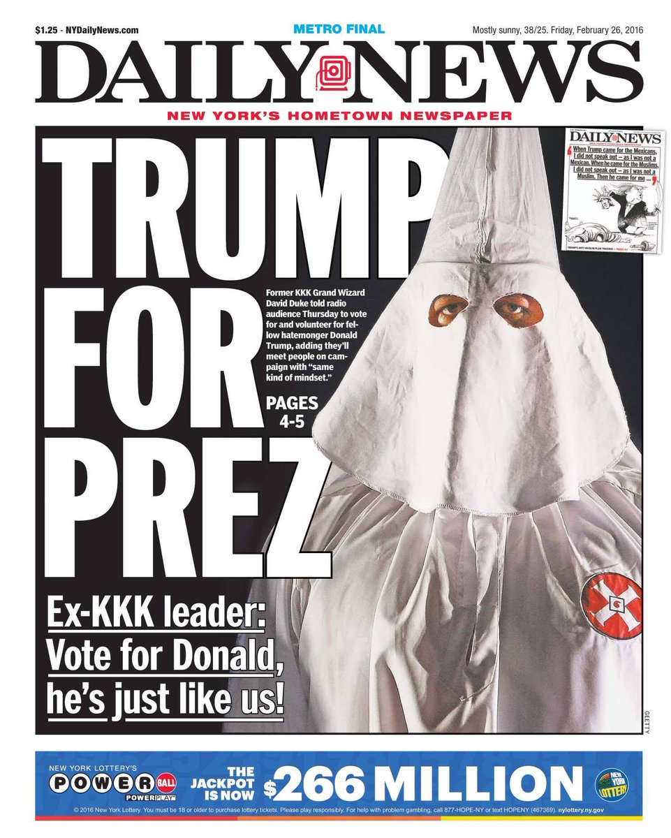 Friday's cover - Another provocative cover from @NYDailyNews after tonight's #GOPDebate #Trump2016 https://t.co/jIMSRlIH9S