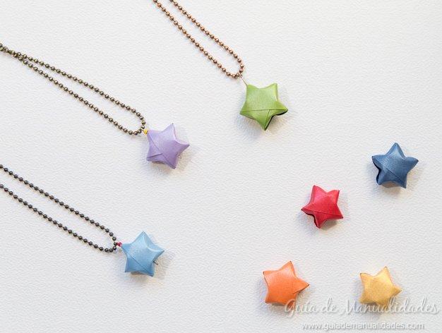 Original colgante con una estrella de origami